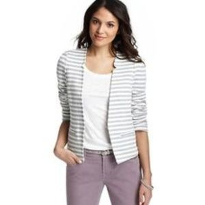 LOFT Womens Striped Cotton Terry Open Front Blazer